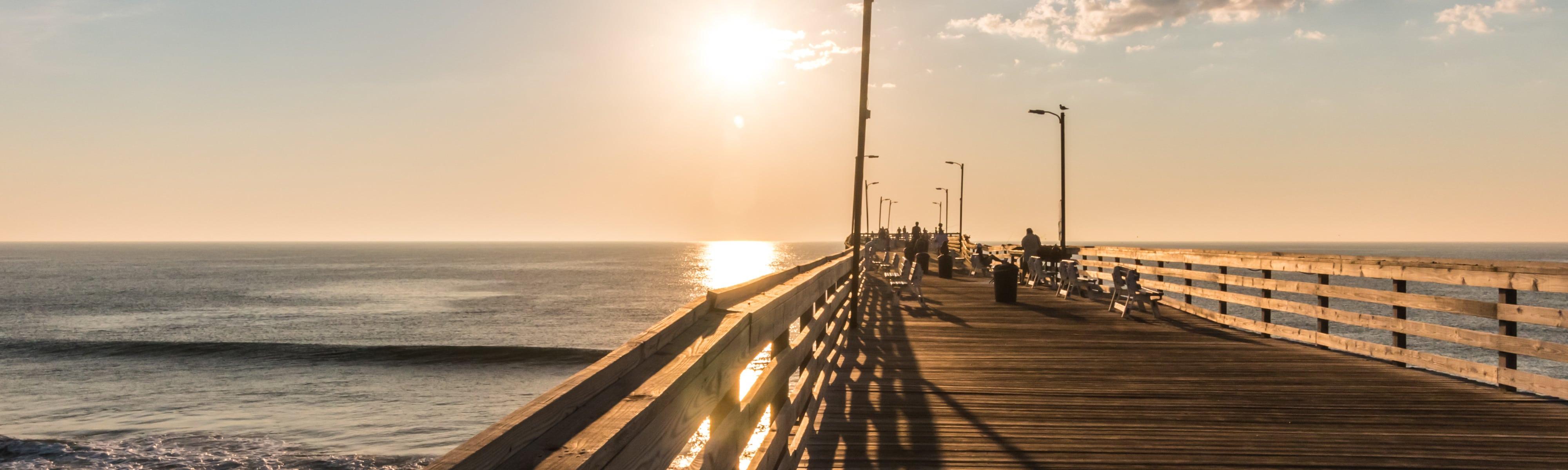 Wooden pier on Virginia Beach, VA.