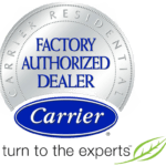 Carrier Factory Authorized Dealer badge.