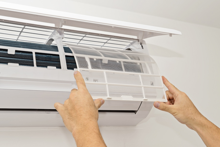 Chesapeake, VA man replaces the filter for his ductless mini-split
